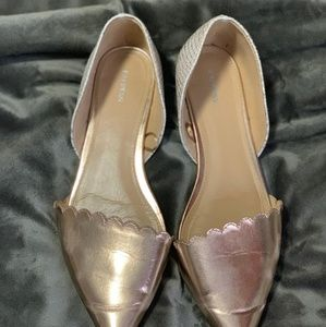 Express Pointed Toe Flats -Rose Gold & Snake Print